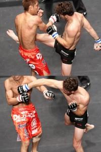 【写真】所戦で勝利を決定づけた右ミドルからの右ストレート(C)MMAPLANET