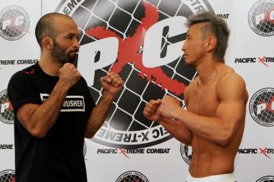 【写真】元UFCファイターのダレン・ウエノヤマとPXC初戦の渡辺(C)MMAPLANET