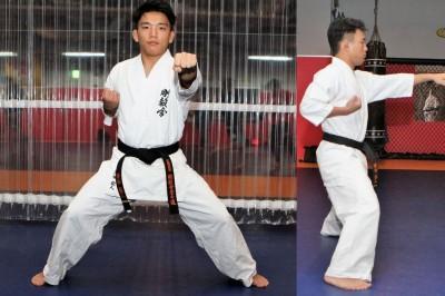 足を開き、引手が胸の高さ。拳は正中線を狙う(※構えを取った澤田龍人は、いつも癖で拳を肩の延長線上に持ってきてしまっている)