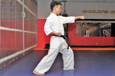 縦歩幅はスネの長さに拳が一つ入る程度。両足のヒザは腰が割れない範囲でしっかりと曲げる。引手は肋骨の下にある