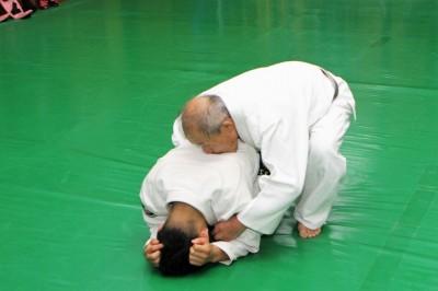 亀の相手に対し、左手で相手の左手の上腕二頭筋の辺りを押さえ