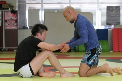 午前8時半から山田崇太郎とのマンツー練習後、今回の取材は行われた