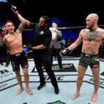 【UFC257】2R2分32秒。ダスティン・ポイエー Def.コナー・マクレガー by TKO ──カーフ効かせパンチ連打