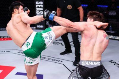 【PFL2021#01】チョ・ソンビン、逆転KO勝ち間近の展開からTDを許し、ダイアモンドに悔しい判定負け